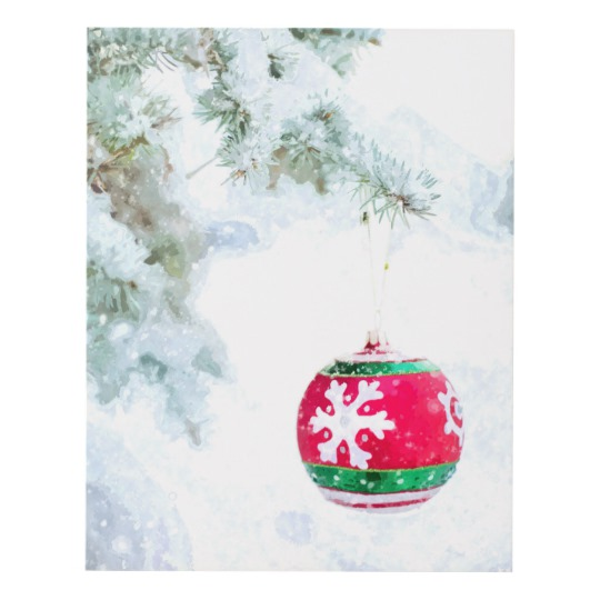 540x540 Christmas Ornament White Snow Watercolor Panel Wall Art