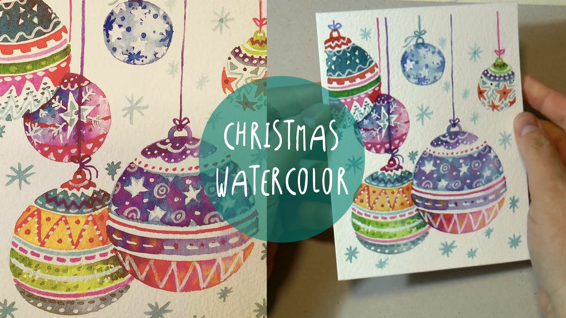 1920x1080 Watercolor For Christmas How To Paint Xmas Ornaments Speed