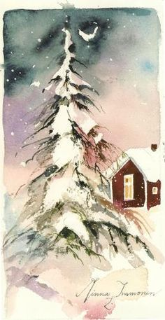 Christmas Scene Watercolor