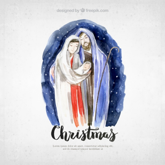 626x626 Christmas Card With Pretty Watercolor Nativity Scene Vector Free