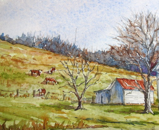 510x417 Everyday Artist Step By Step Watercolor Winter Farm Scene