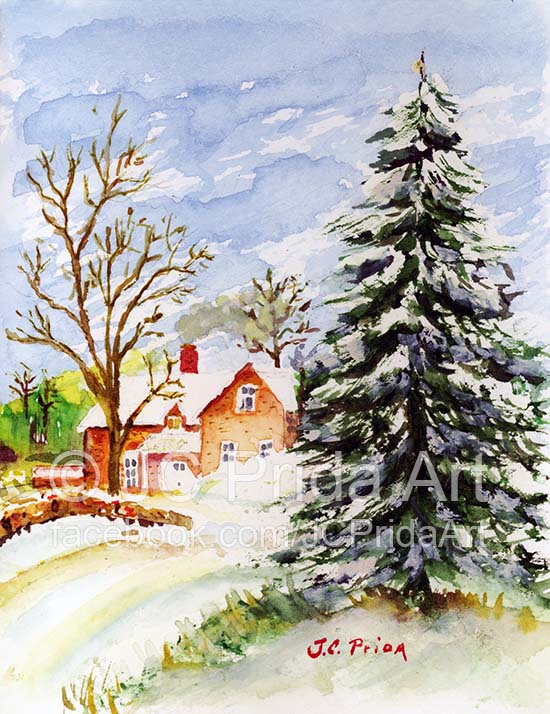 550x714 Home For Christmas Snowy Winter Watercolor