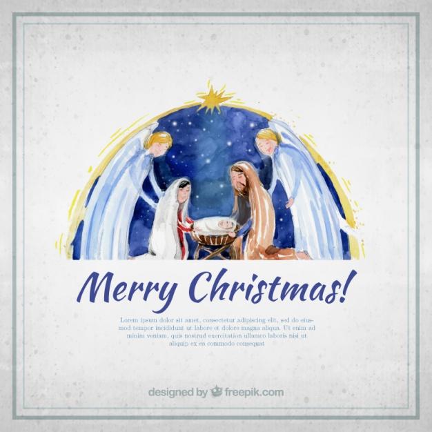 626x626 Merry Christmas Card With Watercolor Nativity Scene Vector Free