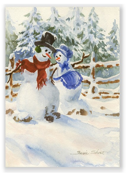 428x600 Snow Couple Christmas Watercolor Greeting Card By Susie Short