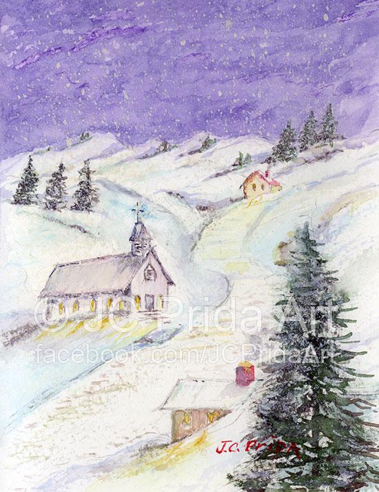 550x714 Starry Night Christmas Church Painting