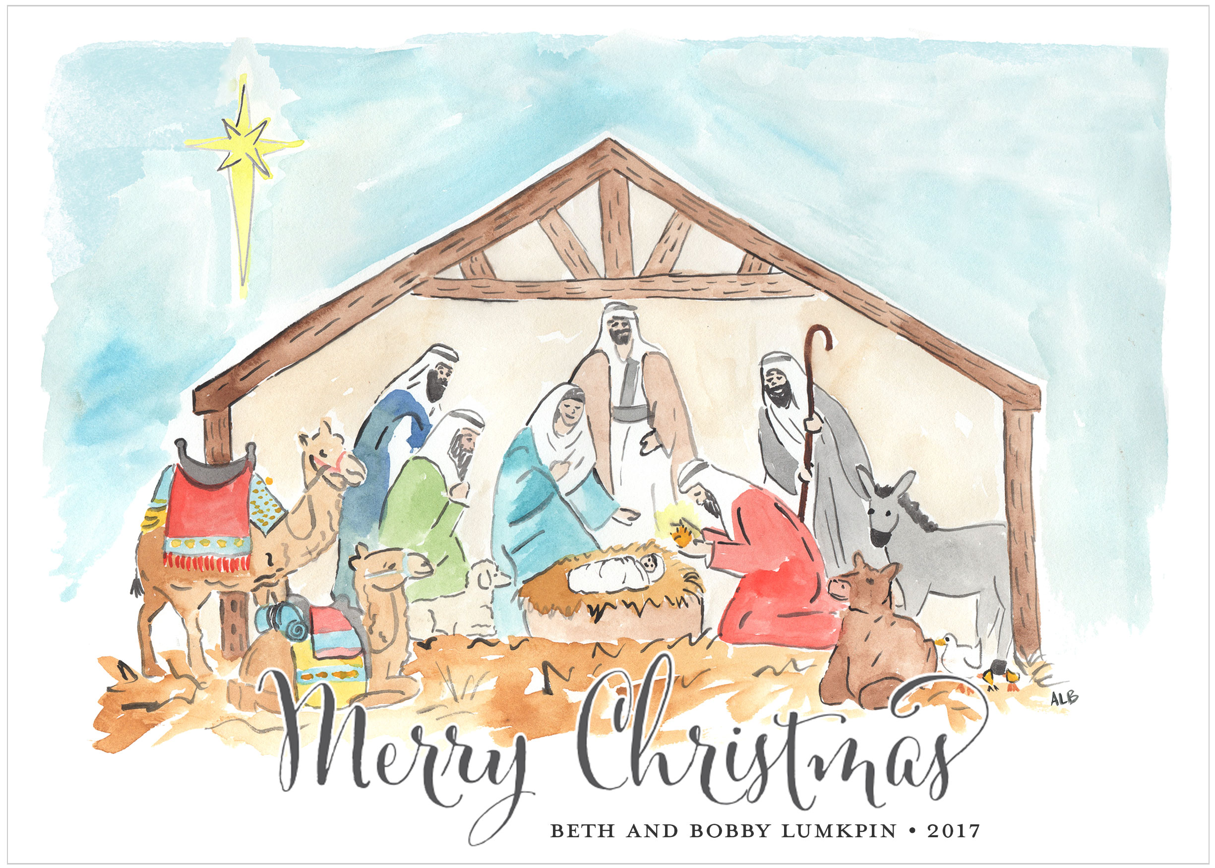 2450x1750 Watercolor Nativity With No Pictures Christmas Card