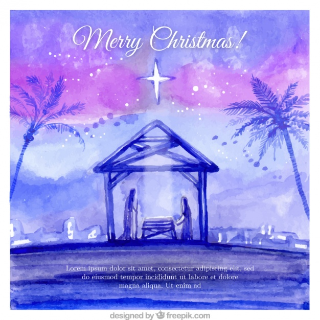 626x626 Watercolor Background Of Nativity Scene Vector Free Download