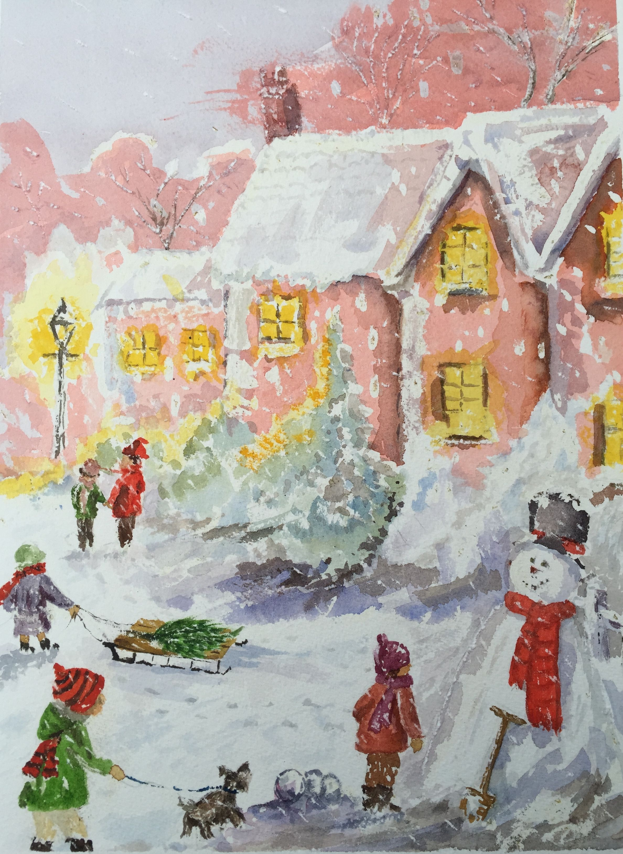 2376x3253 Watercolour Christmas Scene