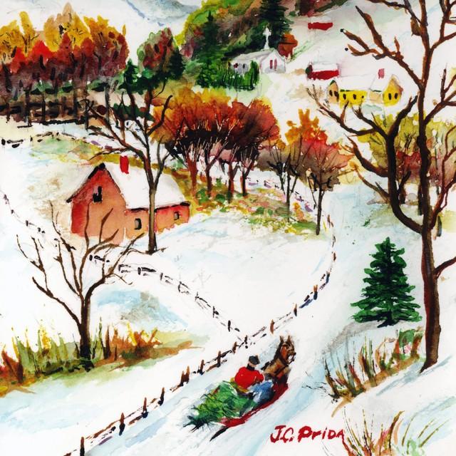 640x640 Winter Sleigh Ride Mountain Christmas Scene