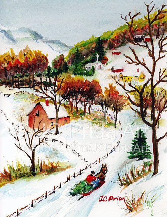 550x714 Winter Sleigh Ride Mountain Christmas Scene Jc Prida Art (My Dad