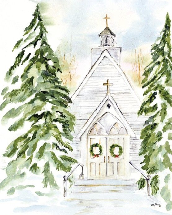 554x692 Christmas Church Watercolor Scene Christmas