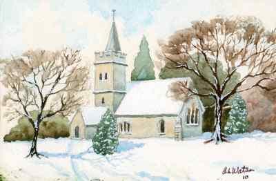 400x262 Church Scene Xmas Card