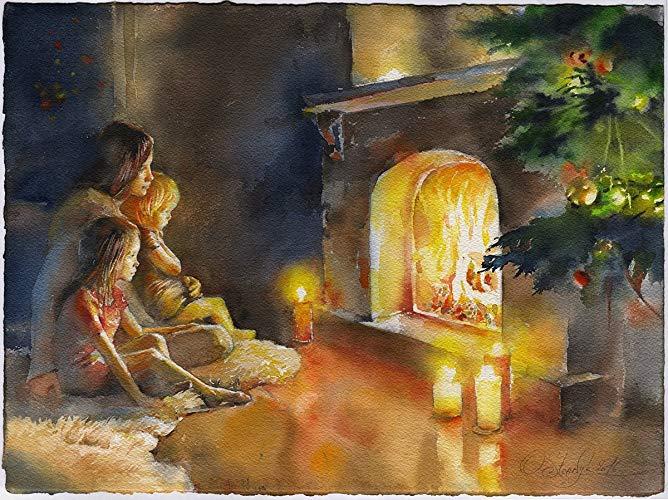 668x500 Fine Art Print Of Christmas Fireplace Scene Watercolor