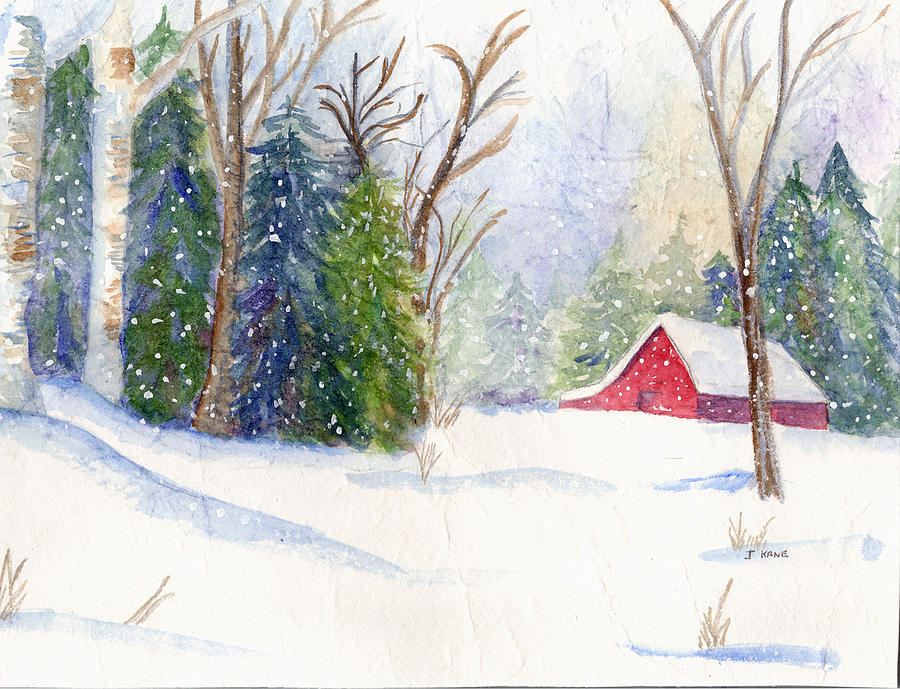 900x689 Christmas Barn Painting By Janet Kane