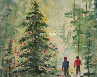 340x270 Christmas Painting Christmas Tree Print Of Original