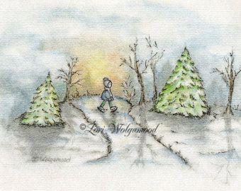 340x270 Christmas Scene No.1 Print Watercolor By Vintagenestdesigns