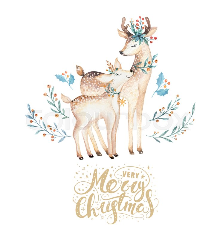 736x800 Christmas Watercolor Deer. Cute Kids Xmas Forest Animal