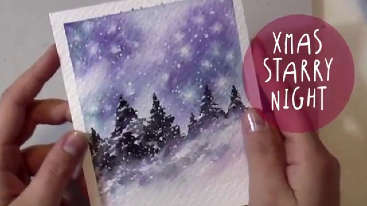 1280x720 Watercolor Tutorial How To Paint A Christmas Night Landscape