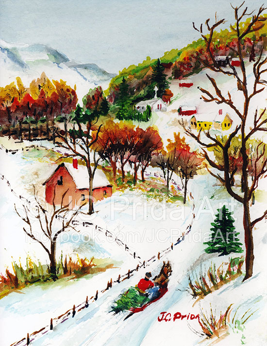 550x714 Winter Sleigh Ride Mountain Christmas Scene