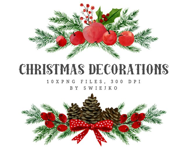 642x514 Christmas Watercolor Clipart Holiday Decoration Christmas Etsy