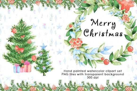 580x386 Christmas Watercolor Clipart Set By Color Days On @creativemarket