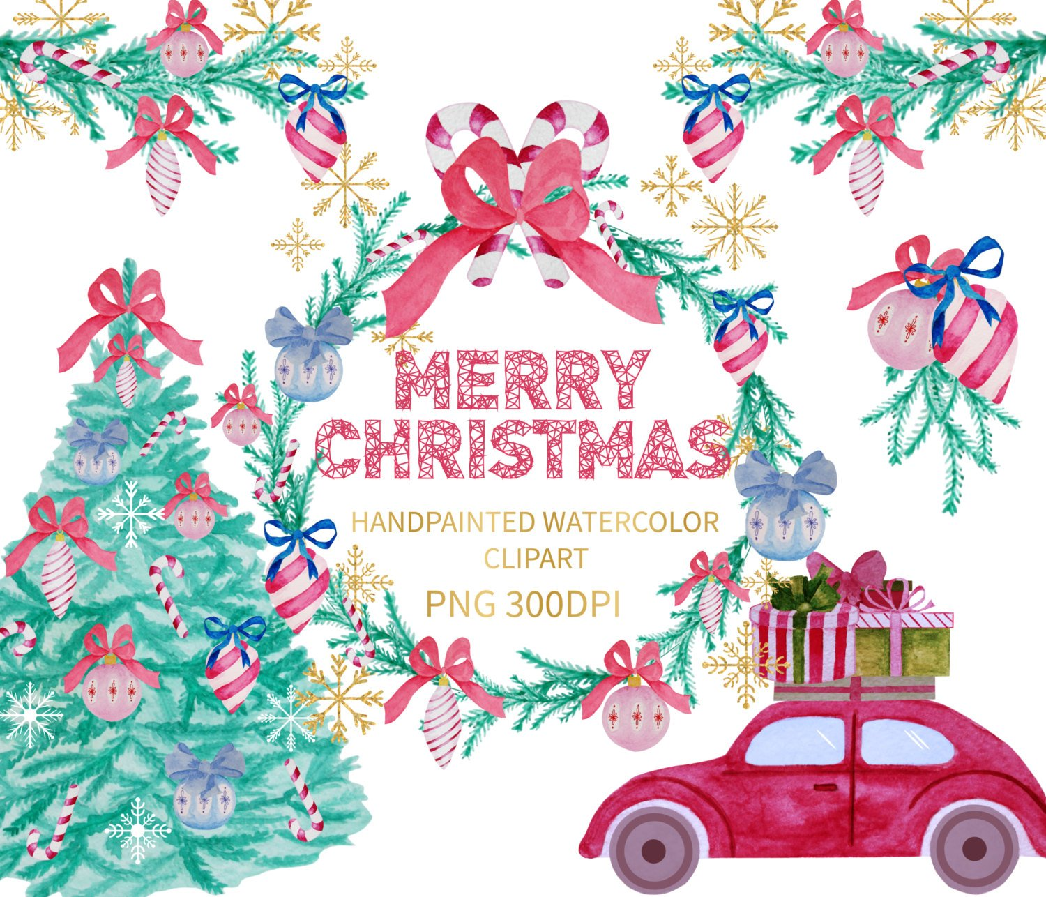1500x1286 Christmas Watercolor Clipart Watercolor Clipart Xmas Etsy