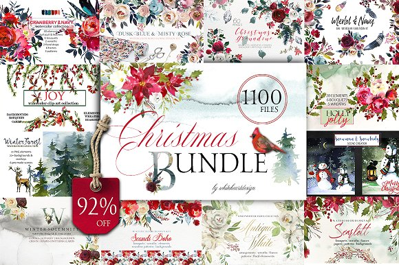 580x386 Christmas Watercolor Floral Bundle