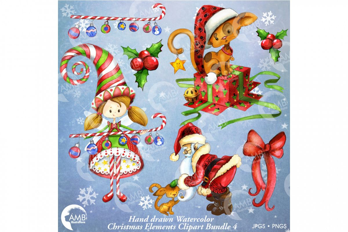 1200x800 Christmas Watercolor Handrawn Clipart Bundle 2 Amb 1474