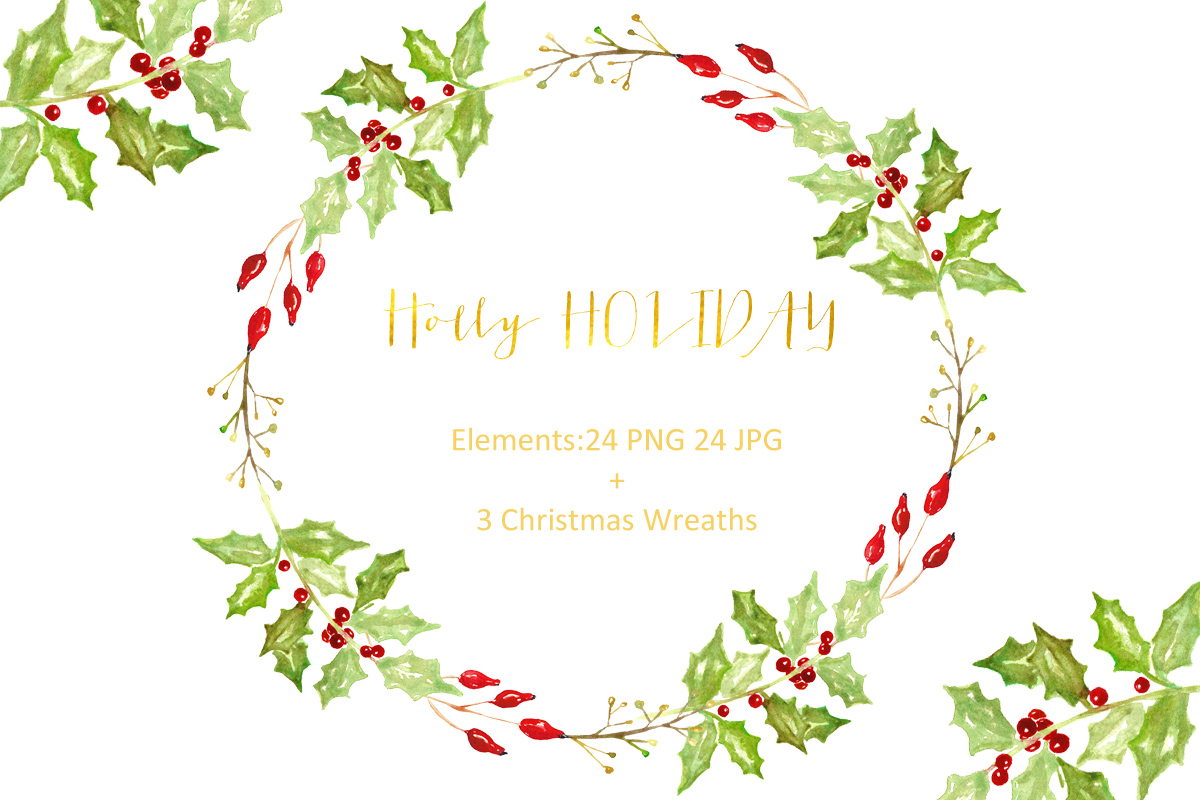 1200x800 Christmas Bundle Watercolor Clipart By Labfcreations