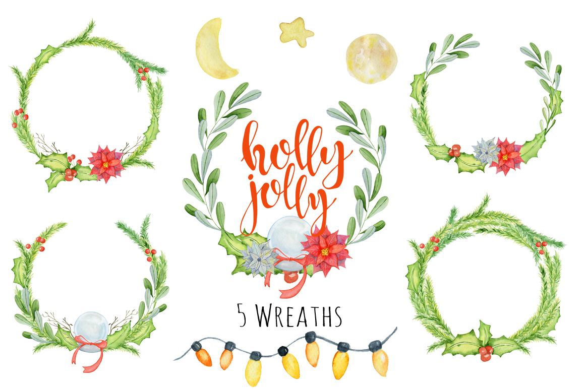 1160x772 Christmas Floral Watercolor Clipart Holly Jolly By Evgeniiasart