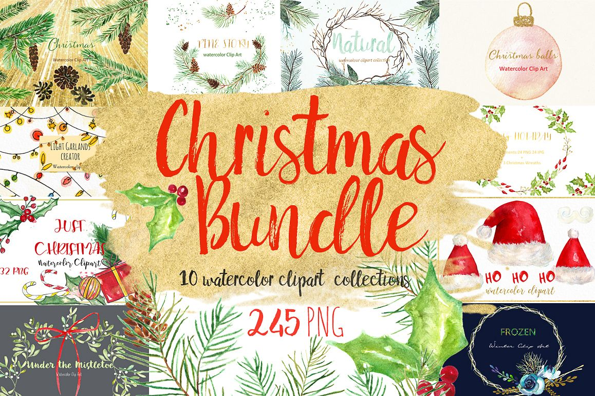 1158x772 Christmas Watercolor Clipart Bundle