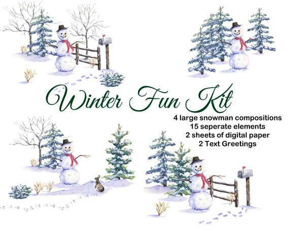 570x456 Christmas Watercolor Clipart Hand Painted Snowman Pine