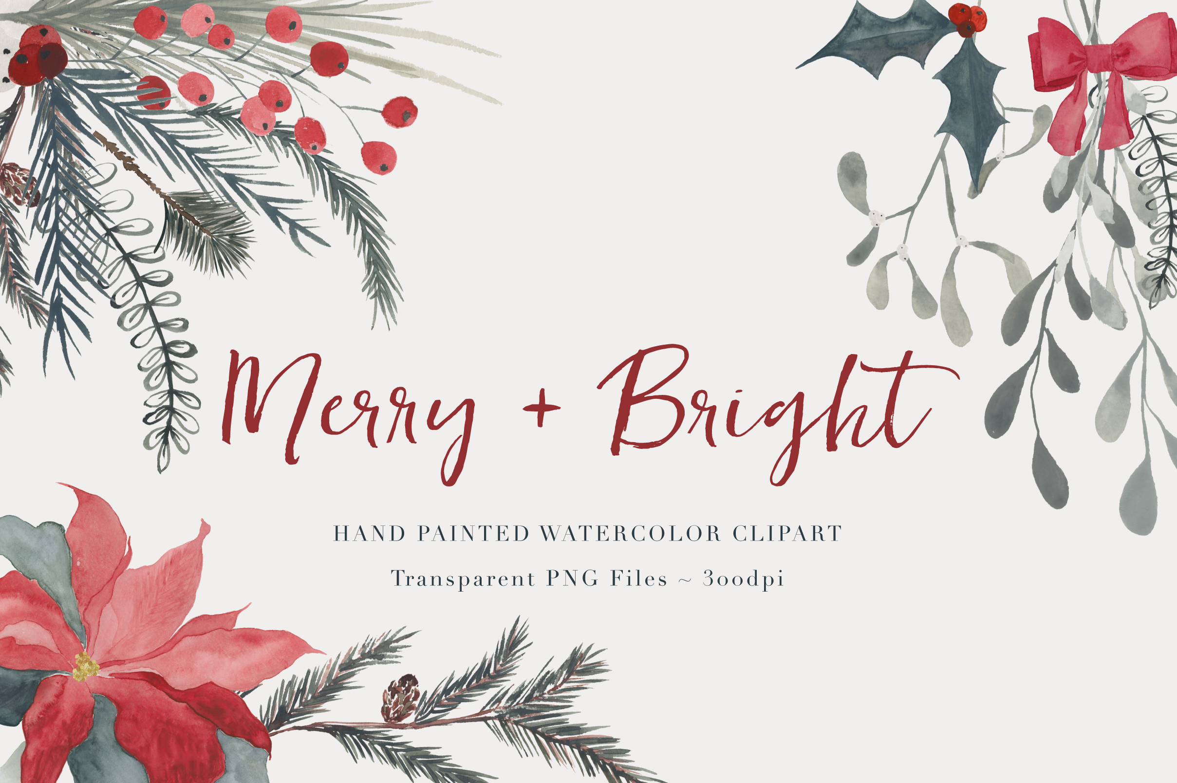 2417x1608 Christmas Watercolor Clipart