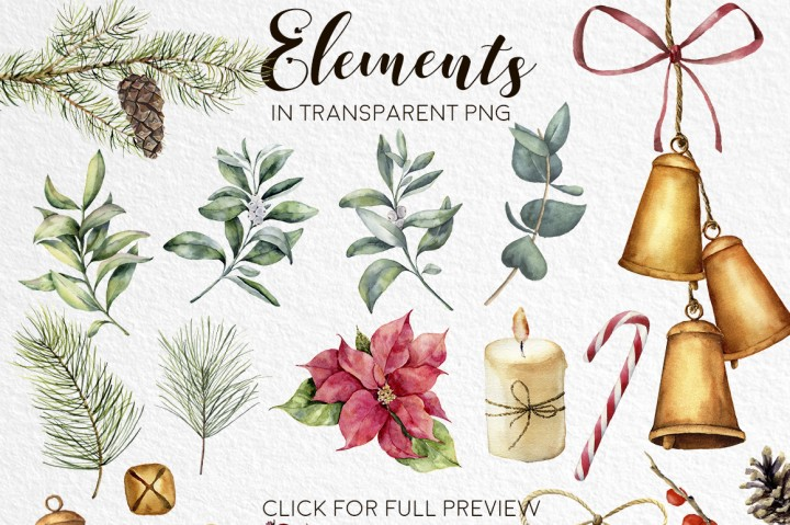 720x479 Elegant Christmas. Watercolor Clip Art By Yuliya Derbisheva