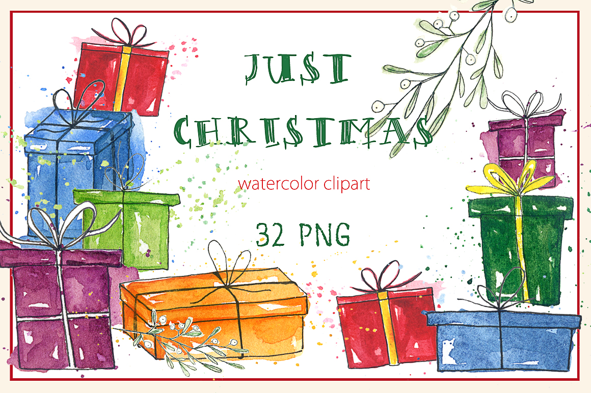 1160x772 Just Christmas. Watercolor Clipart. By Labfcreations