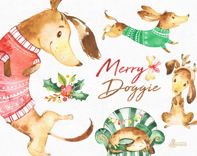 642x510 Merry Doggie. Christmas Watercolor Clipart Dachshund Dog Etsy