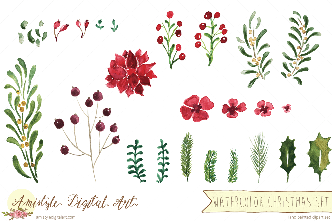 1160x772 New Item Watercolor Christmas Flowers