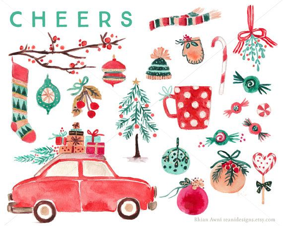 570x456 Watercolor Christmas Clip Art For Personal And Commercial Use