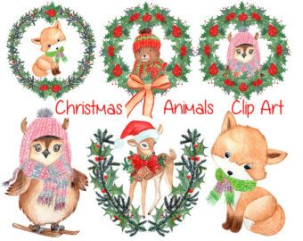 340x270 Watercolor Christmas Clipart Watercolor Animals Christmas