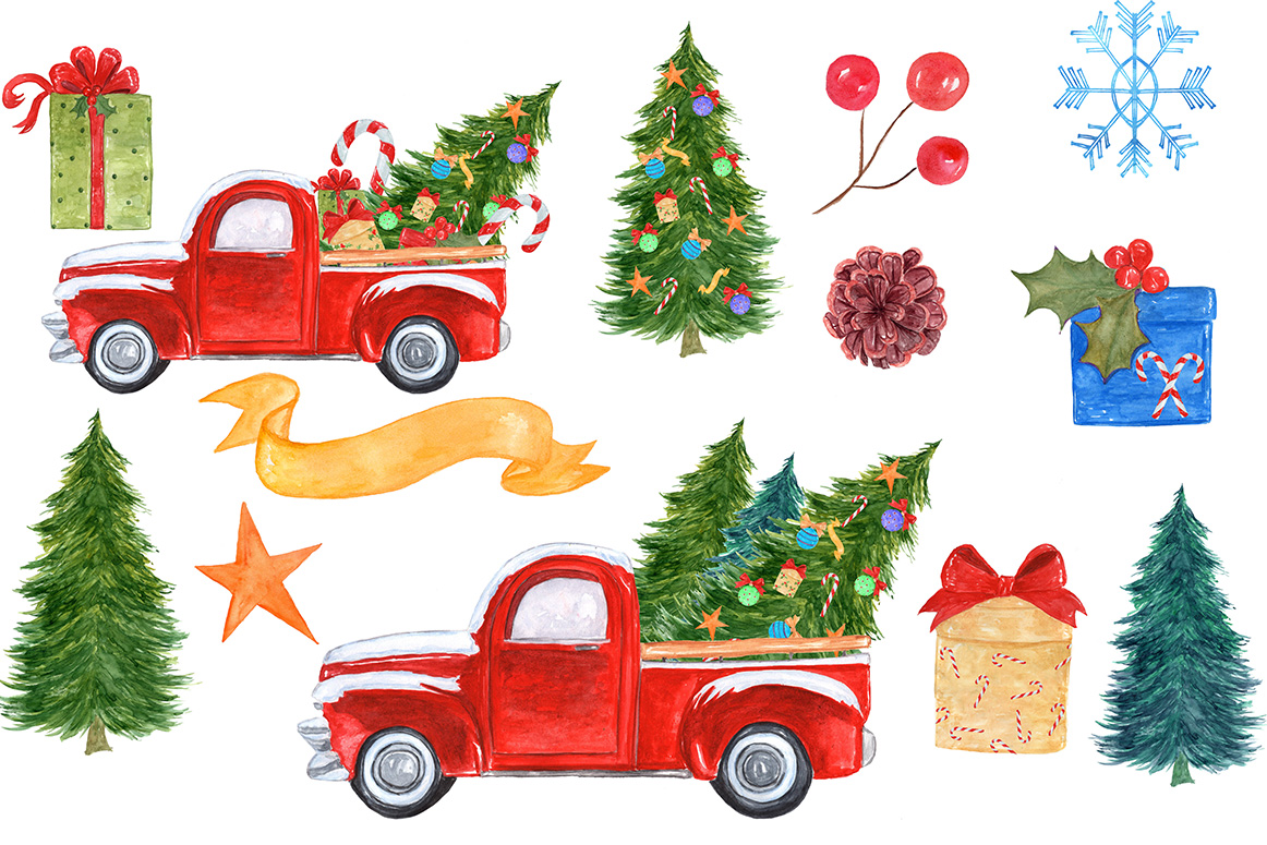 1162x775 Watercolor Christmas Truck Clipart