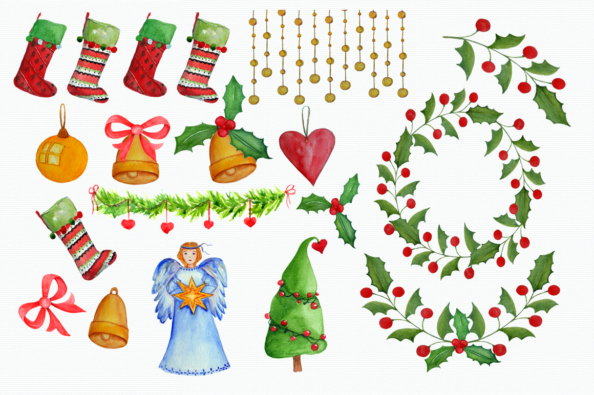 1160x772 Christmas Watercolor Clip Art Set