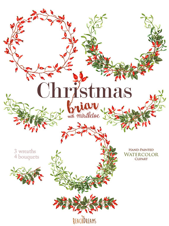 570x760 Christmas Watercolor Clipart, Mistletoe, Briar, Holiday Hand