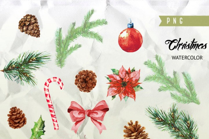 720x479 Christmas Watercolor Clipart, New Year Decoration, Holiday Hand