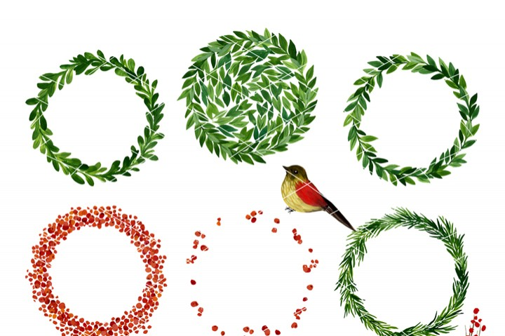 720x479 Christmas Watercolor Clipart, Holiday Wreath, Mistletoe By Swiejko