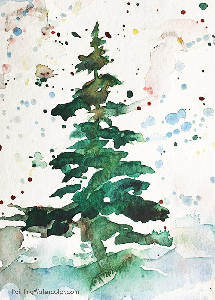 715x1000 Christmas Card Tree Watercolor Painting Tutorial Art Ideas For