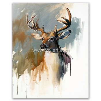 350x350 Christmas Decorative Watercolor Deer High Quality Animal Oil