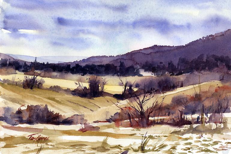 770x513 Christmas Eve Morning En Plein Air Watercolor Landscape Painting