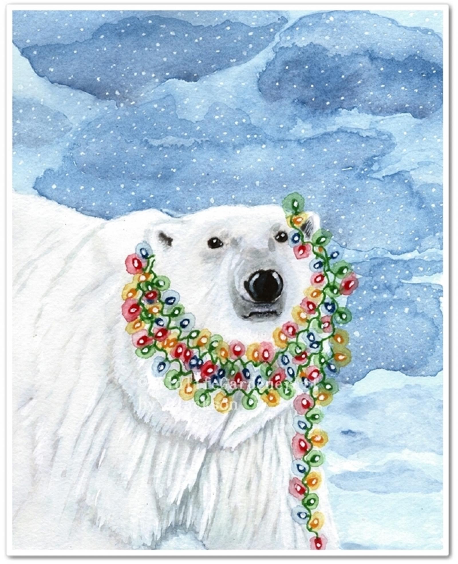 1600x1969 Christmas Polar Bear, Reindeer, Arctic Fox Whimsical Watercolor
