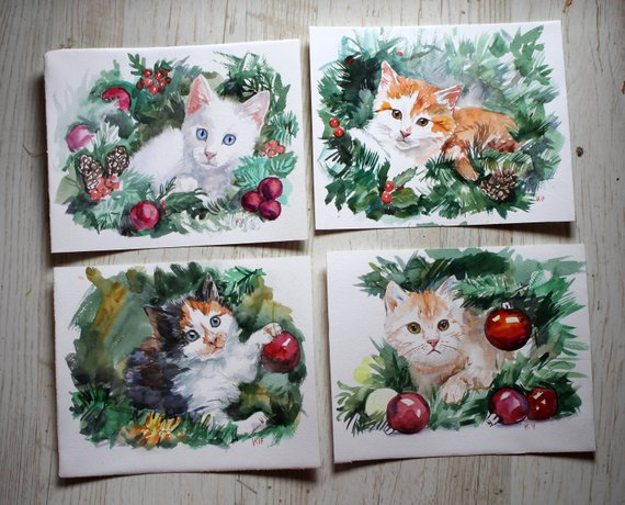 570x460 Cute Kitten Christmas Watercolor Original Painting Animal Set Etsy