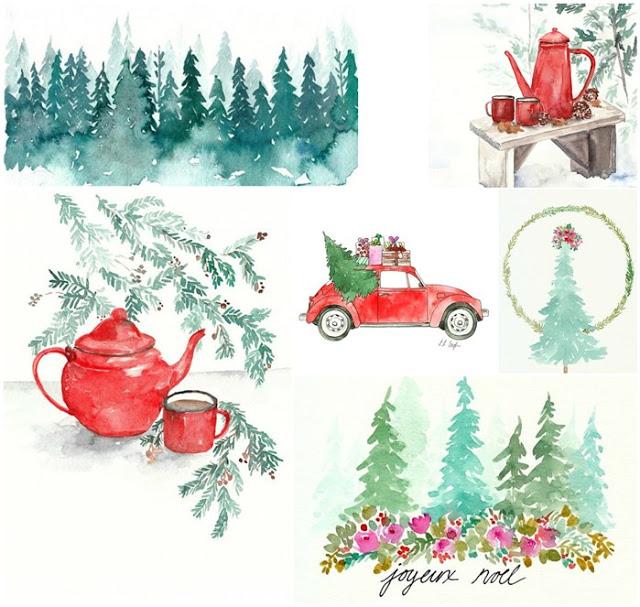 640x607 Elise Engh Studios Christmas Watercolor Paintings